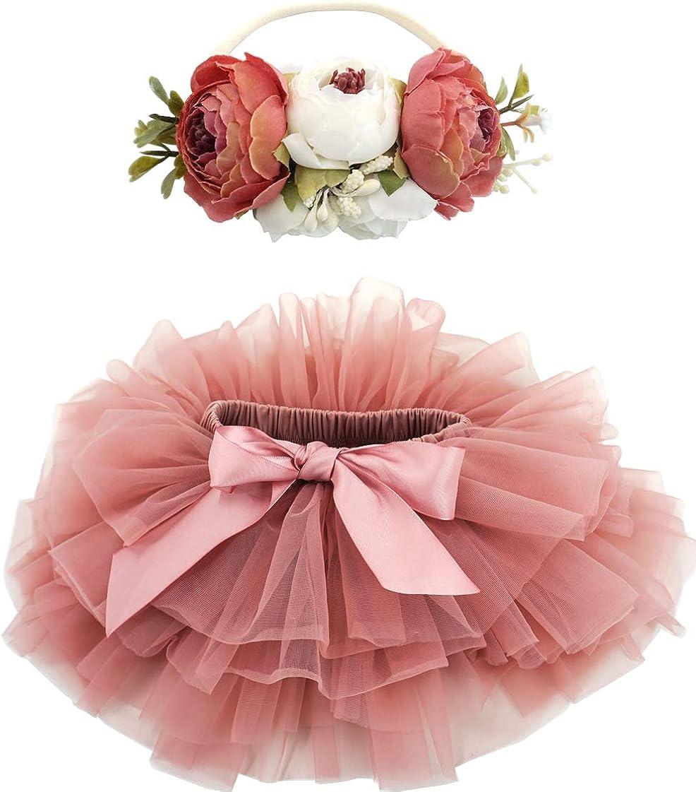BGFKS Baby Girls Soft Fluffy Tutu Skirt with Diaper Cover,Toddler Girl Tutu Skirt Sets with Flower Headband.