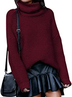 Qixuan Womens Loose Long Sleeve Ripped Pullover Knit Sweater Crop Tops