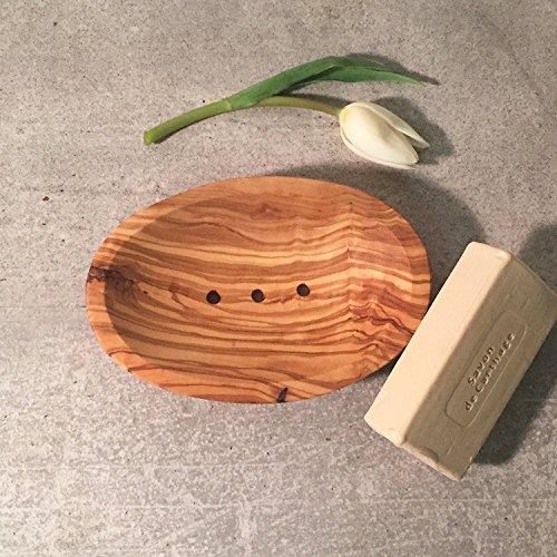 Seifenschale, Olivenholz, oval, Seifenhalter, perforiert, handgefertigt