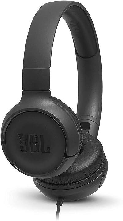 Jbl tune 500 cuffie sovraurali, cuffia on ear con microfono e comando remoto ad 1 pulsante JBLT500BLK