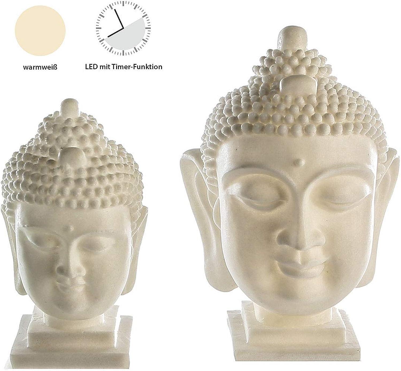 CasaWeißa LE D Leuc Hte Buddhakopf creme 6h Timer m.warmw.LED,Poly Fiberglas,für 3xAAA Bat.