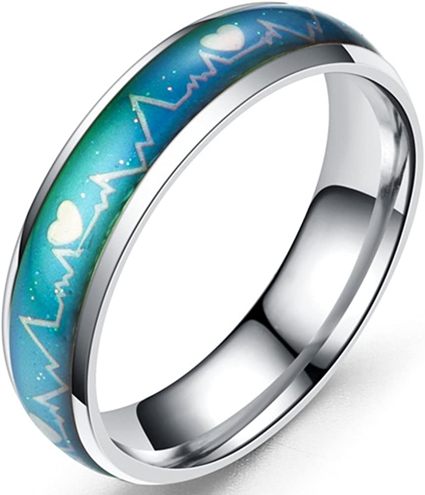 Jude Jewelers Superlatite Stainless Steel Color Wed Bargain Changing Ring Mood Heart