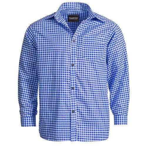 Bongossi-Trade Trachtenhemd für Trachten Lederhosen Freizeit Hemd blau-kariert XXL