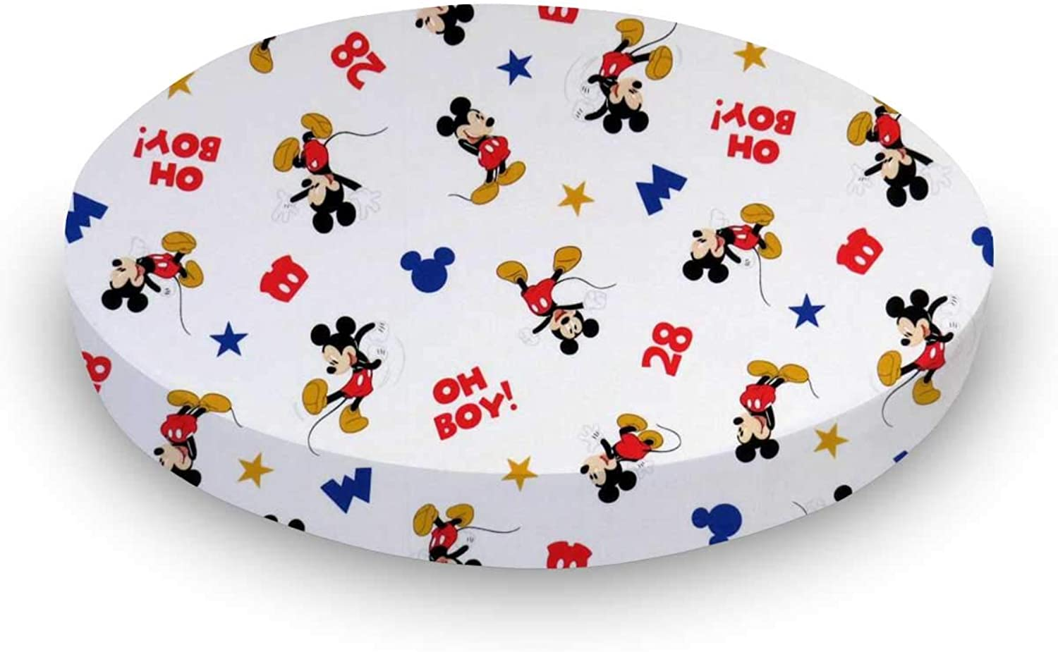 SheetWorld Fitted 100% Cotton Percale SheetWorld Fitted Oval (Stokke Mini) 58.4 cm x 73.7 cm (23 inches x 29 inches), Oh Boy Mickey Mouse, Made In USA