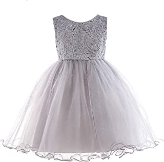 Lace Tulle Flower Girl Dress Vintage Wedding Party Dress for Kids Sleeves Pageant Dress with Big Bow