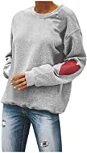 Womens Tops Casual Valentine's Day Heart Print O-Neck Solid Long Sleeve Pullover