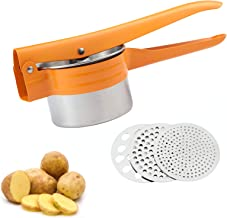 Potato Ricer Masher with 3 Stainless Steel Interchangeable Strainer (Fine, Medium and Coarse) for Potatoes, Purees, Vegeta...
