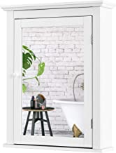 Tangkula Bathroom Cabinet, Mirrored Wall-Mounted Storage Medicine Cabinet, Cabinet with Single Door & Adjustable Shelf in ...
