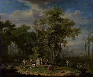 $50-$2000 Hand Painted by College Teachers - 21 Famous Huysum Paintings - Arcadian Landscape with a Ceremonial Sacrifice Jan Van Huysum Woods - Art Oil Painting on Canvas -Size06