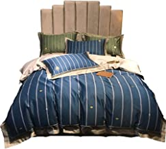Pure Cotton Material Blue Color Satin Stripe Prints Quilt Bed Linen Bedding A Family Of Four Hotel-style Gift Gift Sets (S...