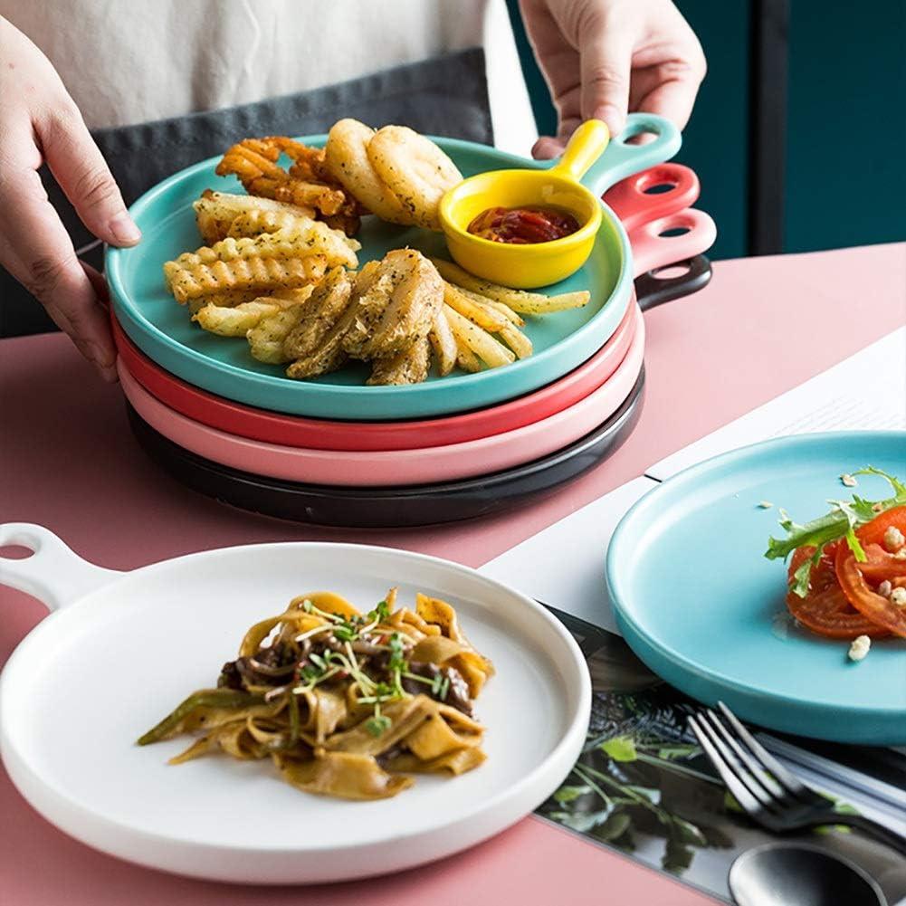 Plat De Cuisson Four Couleur Ronde Avec Poignée Idéal For Lasagnes, Tartes, Cocotte, Tapas, 26,4X 20,8X3 Cm cadeau (Couleur : Blanc) Rouge