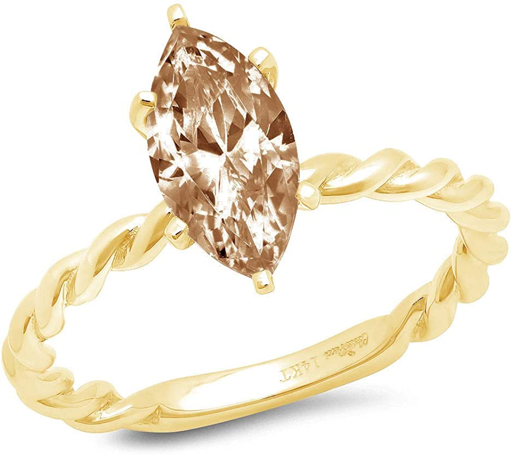 2ct Marquise Cut Solitaire Rope Twisted Knot Brown Champagne Simulated Diamond CZ Ideal VVS1 D 6-Prong Engagement Wedding Bridal Promise Anniversary Ring Solid 14k yellow Gold for Women