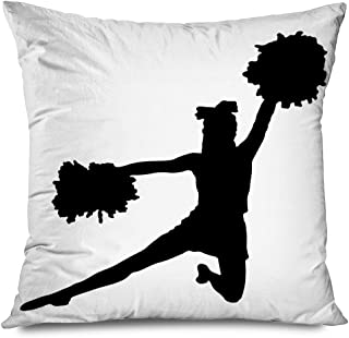 Ahawoso Throw Pillow Cover Square 18x18 Collection Black Silhouette Girl Cheerleaders Sports Cheerleading People Recreation Action Active Decorative Zippered Pillowcase Home Decor Cushion Case