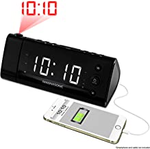 Electrohome EAAC475W USB Charging Alarm Clock Radio with Time Projection, Battery Backup, Auto Time Set, Dual Alarm, 1.2-Inch White LED Display for Smartphones & Tablets