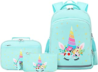Unicorn Backpack for Girls Kids Backpacks Toddler Bookbags with Lunch Box Pencil Bag 3 in 1 Sets School Bags for Age 3+