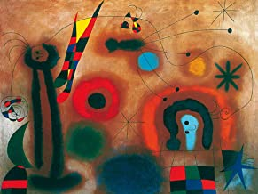 Handpainted Reproduction Joan Miro 120X90 cm (Approx. 48X36 inch) - Dragonfly with Red Flugels Hunting A Snake Abstract Paintings Canvas Wall Art Poster Rolled