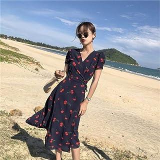 Women Fashion Cherry Printed Wrapped Dress Slim Short Sleeve Maxi Dresses