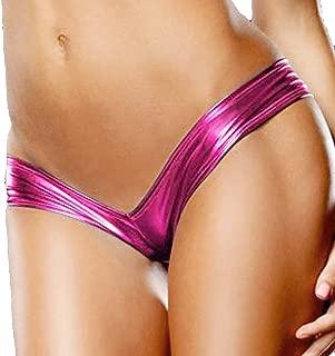 Women's Low-Waist Metallic Micro Shorts Panty Thong