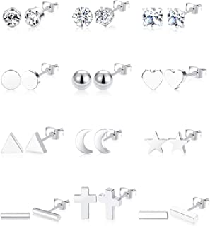 12 Pairs Stainless Steel Earrings Stud Geometric Earrings Set Star Moon Cross Ball Triangle Heart Clear CZ Stud for Womens Girls Silver Rose Gold Tone