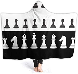 Black And White Striped Chess Pieces Fleece Blanket Bed Linen Plush Hooded Poncho Beach Towel Microfiber Super Soft Cozy Sofa Couch Warm Yoga Mats Throw Hood Blankets Size 50x40 60x50 80x60 Inch