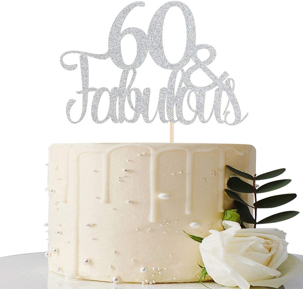 Silver Glitter Party Cake Topper Silver Glitter 60th Birthday Cake Topper Silver Birthday Cake Topper Silver Cake Decorations