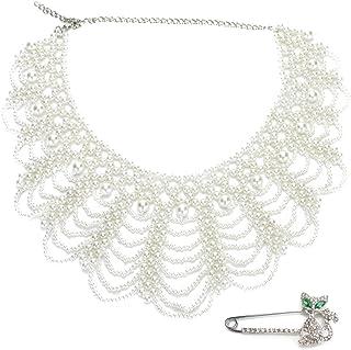 kilofly–Juego de color blanco sintética perla falsa cuello collar, con Rhinestone Cat Pin