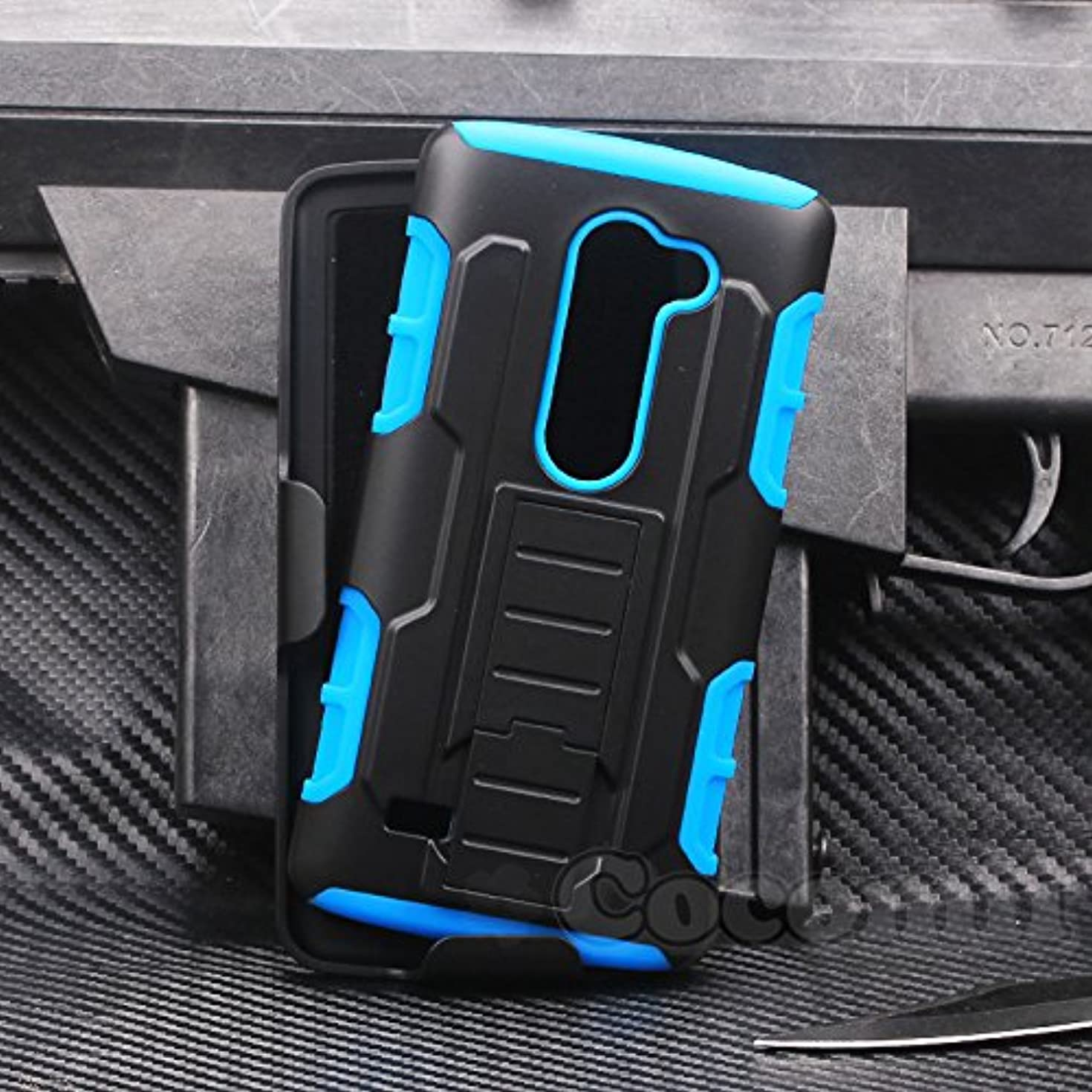 Cocomii Robot Armor LG Leon/C40/Sunset/Tribute 2/Destiny/Risio/Tribute Duo/Power Case New [Heavy Duty] Belt Clip Holster Kickstand Shockproof Bumper [Military Defender] Cover for LG Leon (R.Blue)