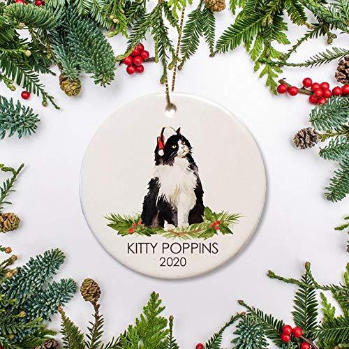 Regalo di Natale Bianco e Nero Capelli Lunghi Gatto Ornamento di Natale, Personalizzato Gatto Ornamento Foresta Norvegese Gatto per Amante Gatto
