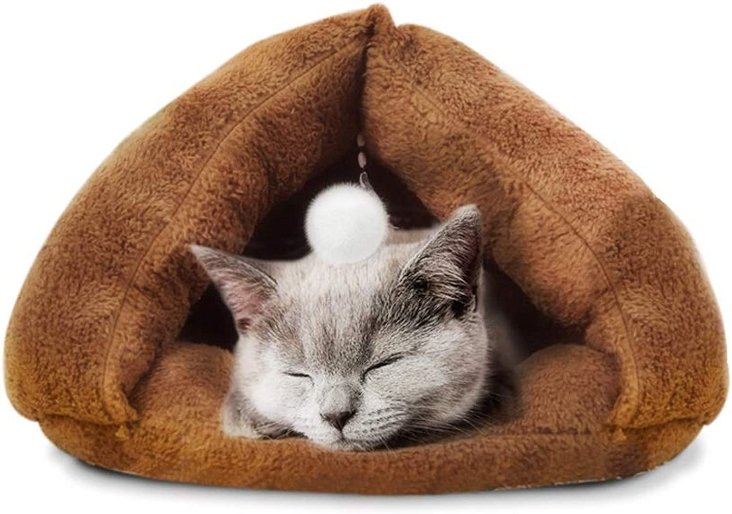 Cat Bed, Washable Four Seasons Universal Cat Sleeping Bag Pet Cat Mat Small Kennel, MultiSize (color   Coffee color, Size   L)