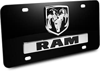 Dodge RAM 3D Logo Nameplate Black Metal License Plate