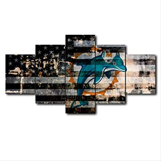 ARTZHUA American Football Flag Rugby Canvas Miami and Dolphins Print 5 Piece Painting Wall Art Modular Picture Home Decor Sport Logo Poster Modern Living Room Frame