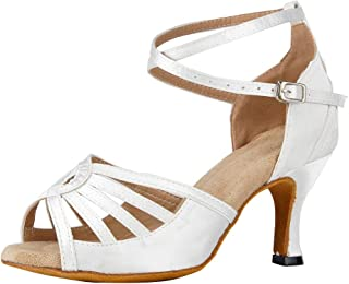 JUODVMP Zapatos Baile Latino Mujer Diamante de Imitación Zapatos Salsa Tango Mujer Model YCL430