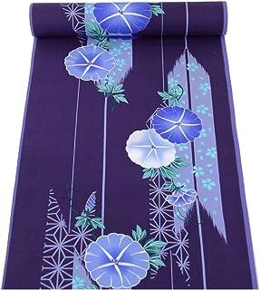 浴衣反物 レディース -124- 綿100% 日本製 花柄 朝顔 赤 墨黒 紺 紫