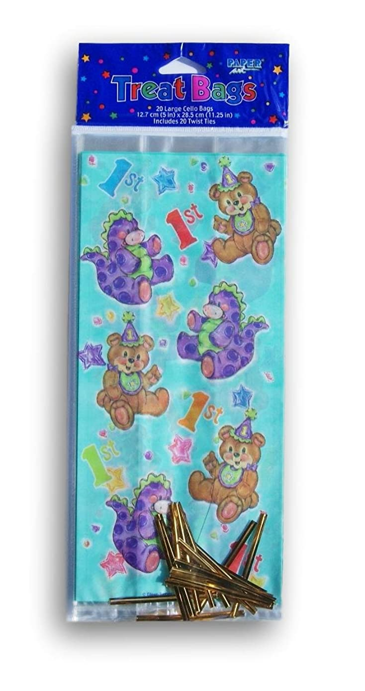 Colorful 1st Birthday Bear Cellophane Treat Bags with Twist Ties - 20 count