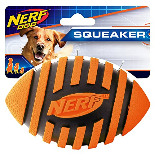 Nerf Dog Rubber Football Dog Toy with Spiral Squeaker, Lightweight, Durable and Water Resistant, 5 Inch Diameter for Medium/Large Breeds, Single Unit, Orange (8915)