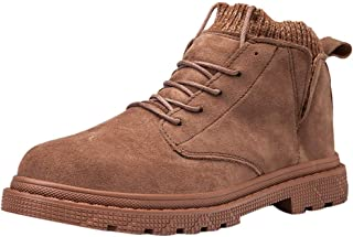 Men's Snow Boots,QueenMM Winter Anti-Slip Lace-Up Ankle Booties Backpacking Boots Hiking Boots for Men