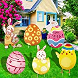 Songjum 6 Pieces Easter Yard Signs Decorations Outdoor,Waterproof Easter Bunnys Chicks Eggs Lawn Signs Stakes Props for Easter Hunt Game Party Garden Decor