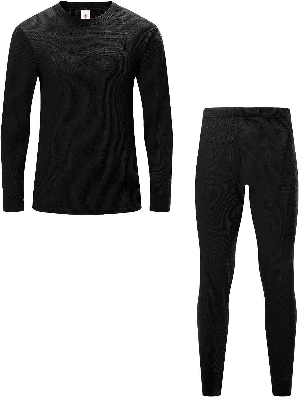 LAPASA Premium Waffle Knit Thermal Underwear Shirt & Pants Set for Men, Long Sleeve Top & Bottom Long Johns (Thermoflux M60)