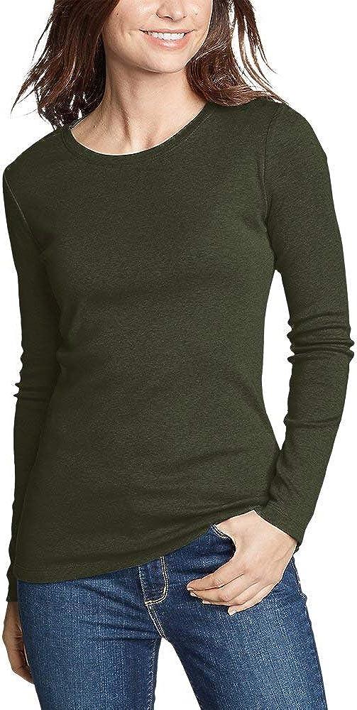 Eddie Bauer Women's Favorite Long-Sleeve Crewneck T-Shirt, Olive Plus 2X