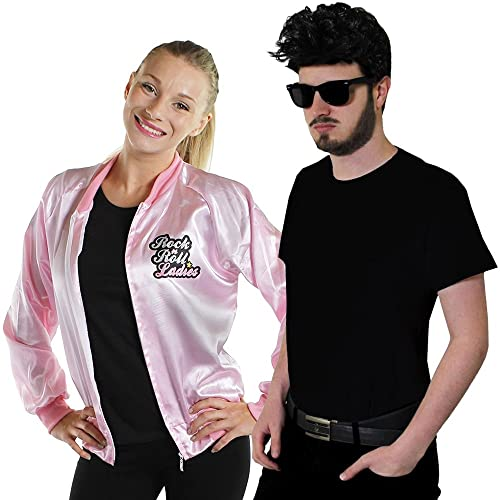 COUPLES 50S ROCK AND ROLLER FANCY DRESS COSTUMES - MENS GREASER COSTUME BLACK T-SHIRT, SUNGLASSES AND TEDDY BOY STYLE WIG AND WOMENS PINK ROCK N ROLL LADIES JACKET (MENS: X-LARGE - LADIES: LARGE)