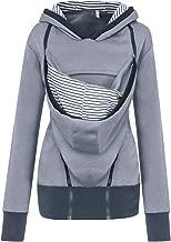 Cuekondy Women Pregnancy Kangaroo Hoodie Coat Mom Baby Pouch Carrier Maternity Zipper Sweatshirts Jacket