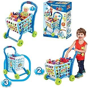 Boys or Girls Kids Shopping Cart Trolley (Blue)
