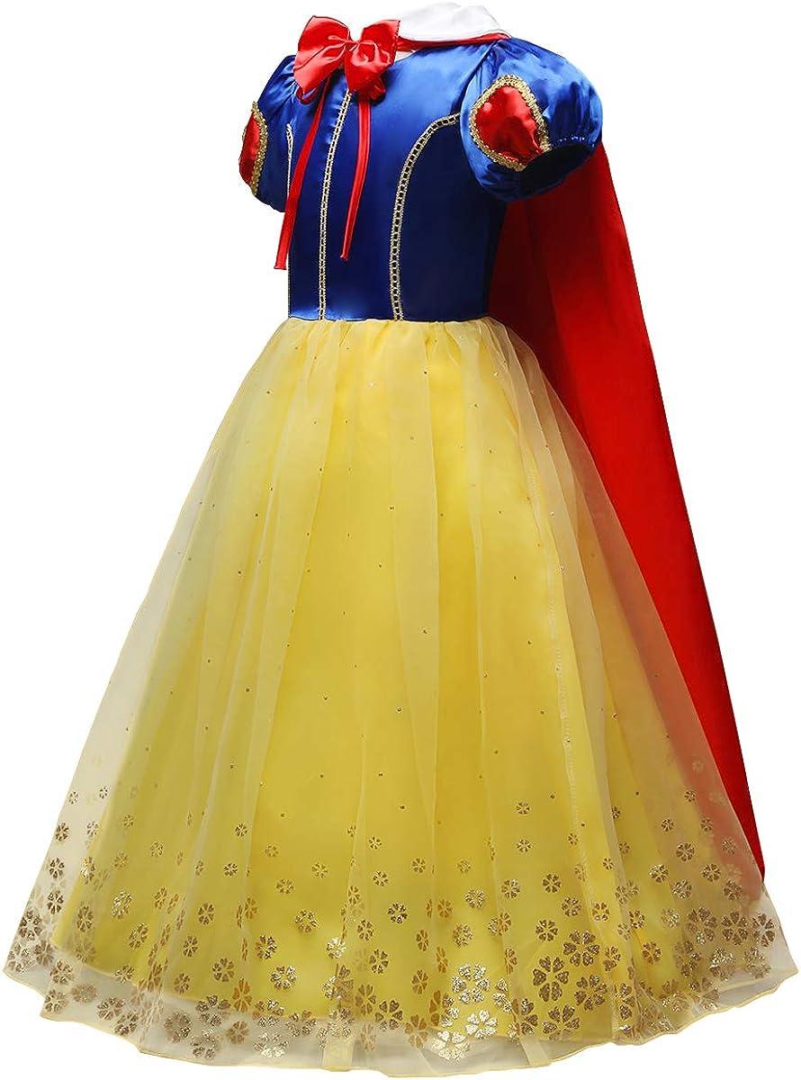 IMEKIS Ragazza Biancaneve Abito Principessa Fiaba Vestire Maniche Corte Tutu in Tulle con Accessori Costume da Carnevale Natale Cosplay Fantasia Vestito Matrimonio Compleanno Festa Set