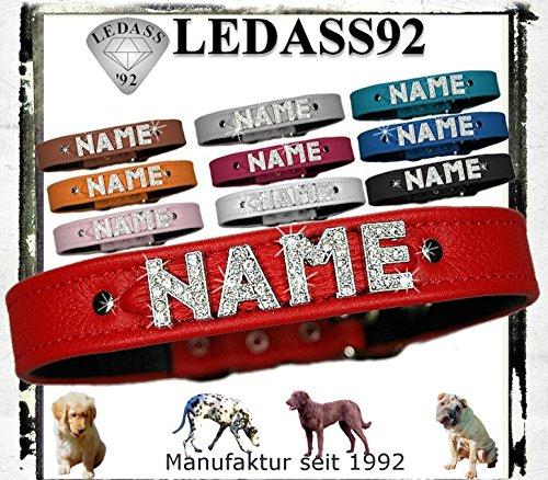 LEDASS92 Hundehalsband mit Namen Strass Halsband Name Strassbuchstaben Strasssteine (S - 23cm - 30cm Halsumfang verstellbar, rot)