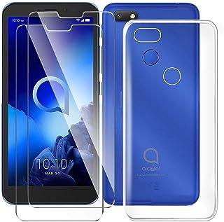 HYMY fodral + 2x skärmskydd för Alcatel 1V 2019 Smartphone - Transparent TPU Mjuk Silikon Protection Gel Fashion Skin back...