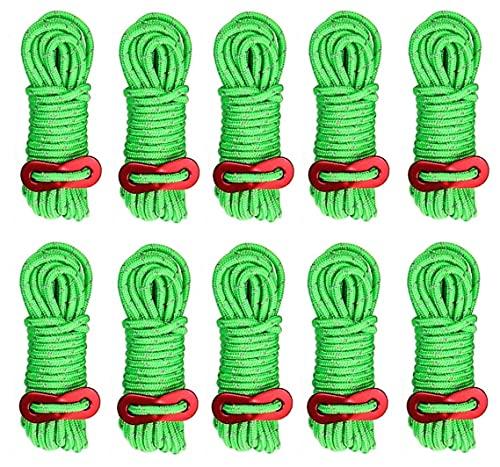 KAHEIGN 10 Piezas Cuerdas Reflectantes Para Tienda De Campaña, 4mm Cuerda De Camping Ligera Para Tienda 4M De Largo Cordón De Las Líneas De Guía De La Tienda Con Ajustador De Tensión