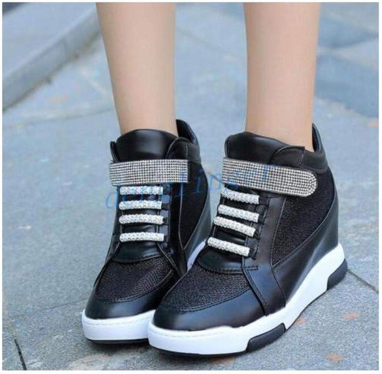 FidgetFidget Womens Girls High Top Insides Heels LacUp shoes Sneakers RhinestonWedges Black US7=UK5=AU6=EUR 38