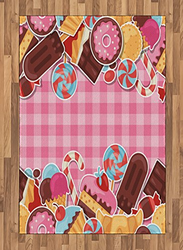 Ambesonne Sweets Area Rug, Candy Cookie Sugar Lollipop Cake Ice Cream Girls Design, Flat Woven Accent Rug for Living Room Bedroom Dining Room, 4' X 5.7', Chestnut Brown Baby Pink Caramel