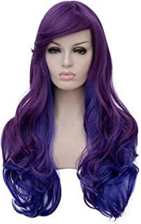 Netgo Women's Purple Ombre Blue Wigs With Side Bang Long Wavy Heat Resistant Synthetic Two Tones Wigs for Costume Party Cosplay