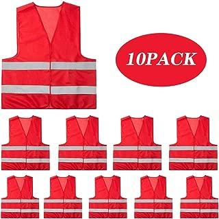 Mount Marter radwear safety vest reflectiverunningvest for men and women, 10 pack, 380° super bright, High visibility & Long distance, Red safety reflective vest for outdoor operators and sportsmen